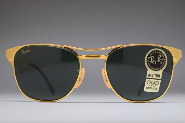 vintage ray ban signet gold frame sunglasses