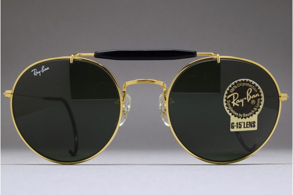 3f8a6f8fd4 B L Ray-Ban USA Round Metal Brow bar C. Pack 52-21 Gold G15 ...