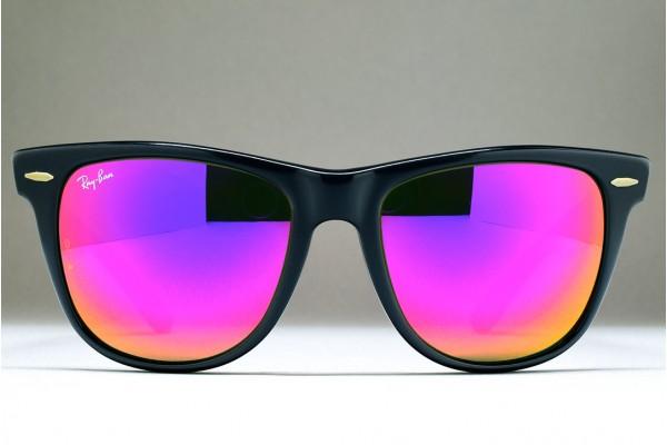 316ad0187c1 B L Ray-Ban USA Wayfarer II (54-18) Ebony Matte - G-15 Purple Mirror   USA