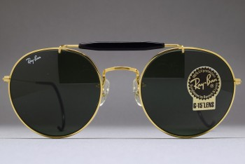 B&L Ray-Ban USA Round Metal Brow bar C. Pack 52-21 Gold / G-15