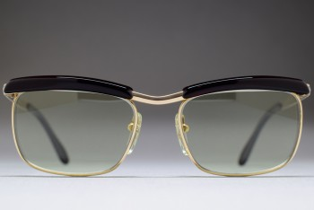 Bausch & Lomb Mod 227 1/20 12K Gold Filled 50-16 Browline West Germany (C.Gold / L.Green)