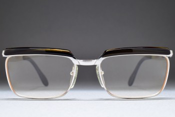 Bausch & Lomb Mod 122 1/20 12K Gold Filled 50-16 Browline West Germany (W.Gold / L.Brown)