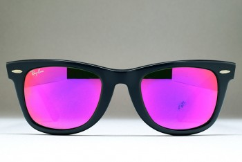 B&L Ray-Ban USA Wayfarer (50-22) Ebony Matte - G-15 Purple Mirror / USA